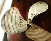 vintage metal propeller fan blade