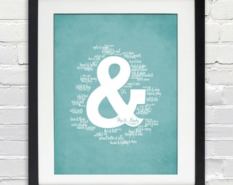 Ampersand - Things That Go Together Like (Couple's Names), Personalized Wedding or Anniversary Gift, Bride and Groom, Bridal Shower Gift