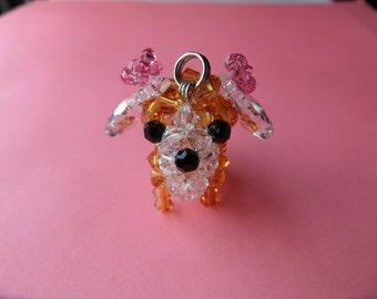 Topaz Chihuahua - Swarovski Crystal Beads Keychain