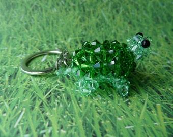 Fern Green Turtle - Swarovski Crystal Beads Keychain