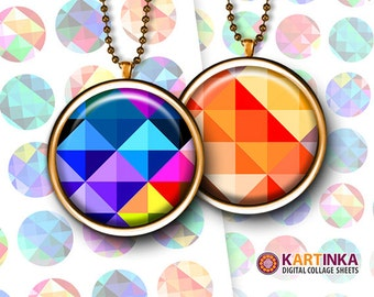 1 inch (25mm), 1.5 inch Images Printable Download TRIANGLE PATTERNS Digitl Collage Sheet for Round pendants Bezel trays Glass cabochons DIY