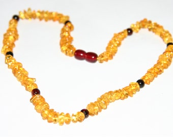 Natural Baltic amber necklace for adults, shape and round beads 43
