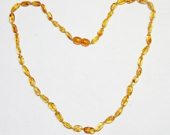 Baltic amber adult necklace honey - bright cognac color olive beads 41