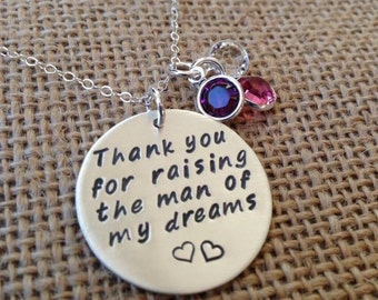 Thank You For Raising The Man Of My Dreams, Mother In Law Necklace, Silver Hand Stamped Necklace with Swarovski Crystal Charms