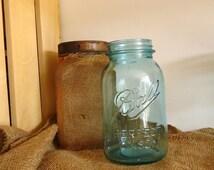 collectible rare scarce Aqua blue mason jar number 13, Blue Ball Perfect Mason, blue canning jar,