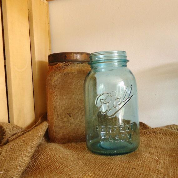 collectible jar number 13, Blue Ball Perfect Mason, blue canning jar, rare scarce Aqua blue mason jar