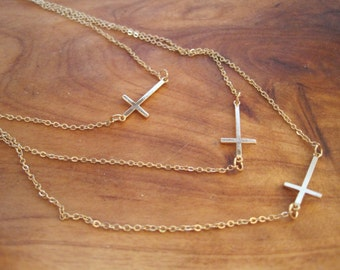 Gold Cross Necklace - Layered Cross Necklace - Horizontal Cross Necklace