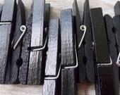 Black clothespins