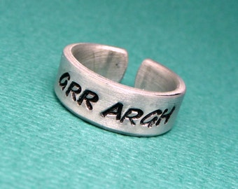 Grr Argh - A Hand Stamped Aluminum Ring