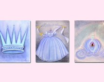 Princess Wall Art, Baby Girl Nursery, Nursery Prints, Princess Decor, Crown, nursery decor, Dress, Carriage, Kids decor, Nursery wall art
