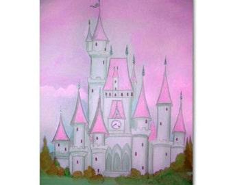 Nursery decor, Pink, Grey, Castle, Baby Girl Nursery, Princess Decor, Princess Wall Art, Kids baby Decor, Kids Wall Art, Nursery wall art