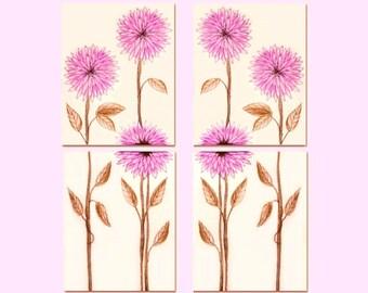 Pink Flowers Nursery Decor, Flowers Wall Art, Girl Nursery Decor, Kids Decor, Kids Wall Art, Girls room Decor, SET OF 4 Prints