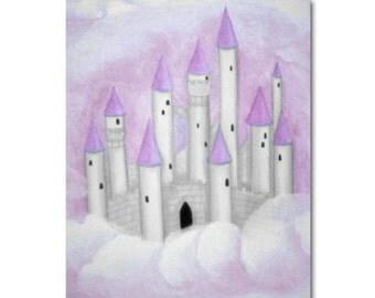 Fairy Princess Castle, Purple Princess Castle Wall Decor, Fairy Tale Nursery, Girl Nursery Decor,  Girls Wall Art, Baby Girl Nursery