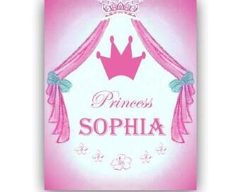 Princess Custom Name Art Print 8''x10'', Girls room Decor, Baby Girl Nursery, Personalized Art, Children's Wall Art, Princess Girl Nursery