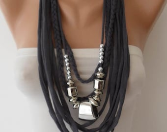 Necklace Scarf Dark Gray Scarf with Silver Beads Scarf Fall Winter Scarf Women Christmas Gifts For Her Mom Grandma Wife Teen Cyber Monday