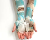 Blue and Brown Tie Dye Fingerless Gloves with white shiny buttons & white lace -  Arm warmers  goth victorian fairy  Belly Dancing Hippy