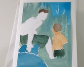 Bathers, Watercolor card, one of a kind, unique, watercolor art mounted on blank card
