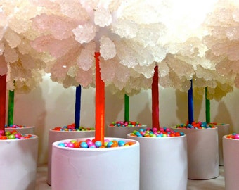 Neon Colorful Rainbow Rock Candy Centerpiece Topiary Tree, Candy Buffet Decor, Candy Arrangement Wedding, Mitzvah, Party Favor,
