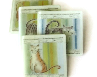 Fat cats coasters - fused glass - set of 4