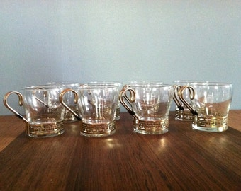 Vintage Gold Demitasse Cups Greek Key Set of 8