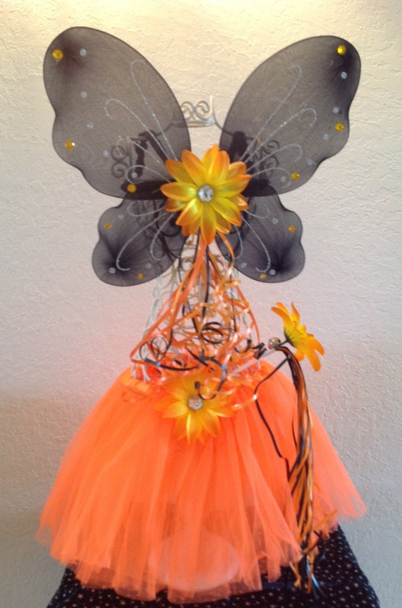 Orange and Black Halloween Fairy Princess Ballet Tutu, Wings and Wand Set
