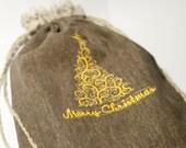 Medium size linen gift bags  dark gray linen  personalized whit Christmas tree