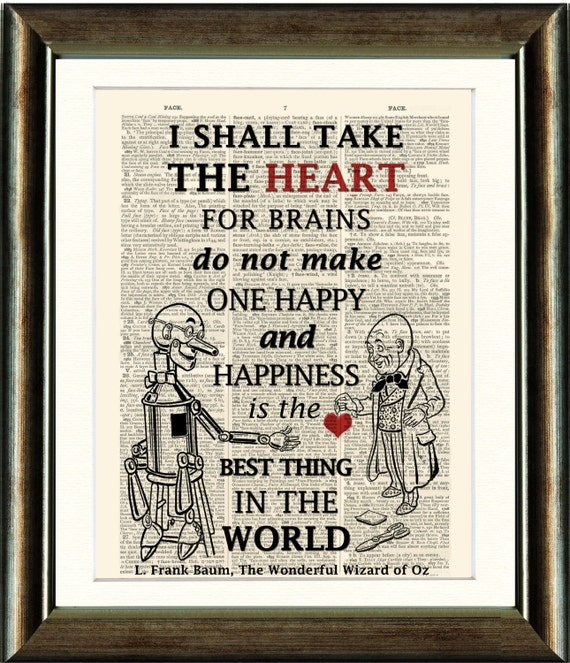 Wizard Of Oz Tin Man Heart Quote 2 Vintage Book Page Print