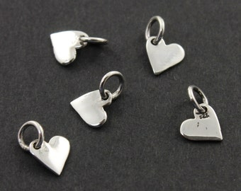 Sterling Silver Tiny Heart Charm / Pendant w/ Closed Jump Ring, Fancy Jewelry Component Finding. (SS/CH8/CR26)