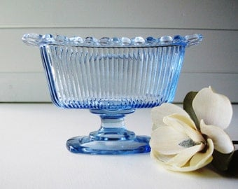 Blue Glass Bowl, Candy Dish, Indiana Glass, Small Blue Dish