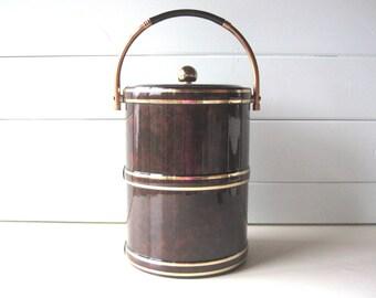 Vintage Ice Bucket, Mid Century Barware, Man Cave, Mad Men, Faux Marble Vinyl and Brass