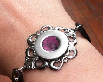 Gothic Bracelet, Resin Jewelry, Black Leather Cuff, Womens Leather Bracelet, Raspberry, Silver Steel Filigree