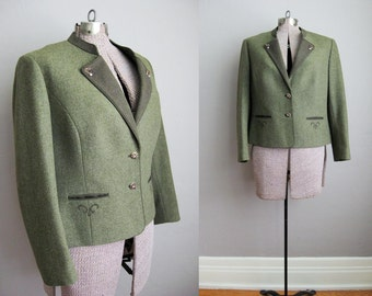 1970s Vintage Riding Jacket Women's Blazer Tyroler Loden Green H. Moser / Large