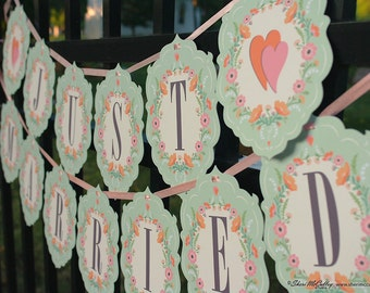 Garland, Just Married, Bride and Groom, Mr. & Mrs., Our Wedding Day, Wedding Garland, Shower Garland, Party Garland—choose words or letters