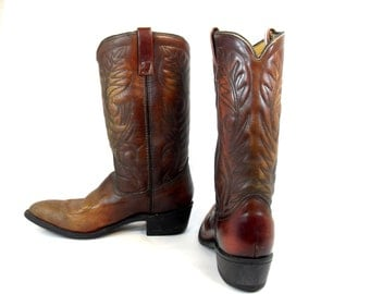 Mason, Awesome Leather Cowboy Boots Vintage Size 9, Vintage Cowboy Boots, Rare Cowboy Boots,