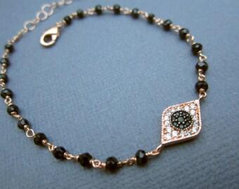 Evil eye Bracelet, black spinel jewelry, good luck bracelet, Dainty, Evil eye jewelry, celebrity inspired jewelry