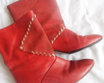 1980s Red leather ankle booties.