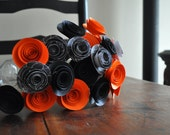 Halloween Bouquet Orange Black Paper Flowers- Two day shipping! Last one!