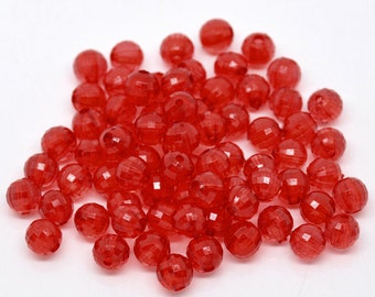 Red Acrylic Faceted Round Beads, 8mm, pack of 100 loose beads