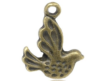 5 pieces Small Antique Bronze Bird Charms