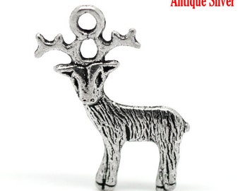 5 PCs Antique Silver Christmas Reindeer Charms