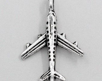 5 Pieces Antique Silver Airplane Charms