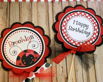 Ladybug Centerpiece Sticks, Ladybug Birthday Centerpiece