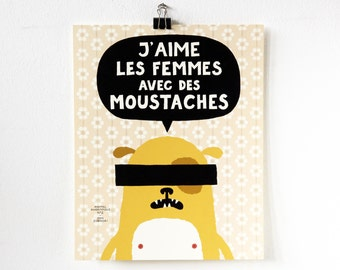 poster, illustration, french, print, art, small, moustache, animal anonymous