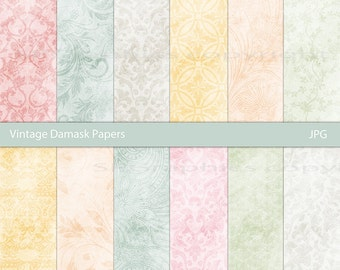 Vintage Damask  - Grunge - Digital Paper Pack for cards, scrapbooking, invites, wrapping