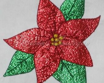 mylar Poinsettia applique embroidery