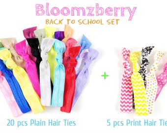 25 pcs Hair Ties - Back to School Set  - Assorted Colors/Print - You Choose Color - 80 Colors Available - Toddler/Teen/Woman