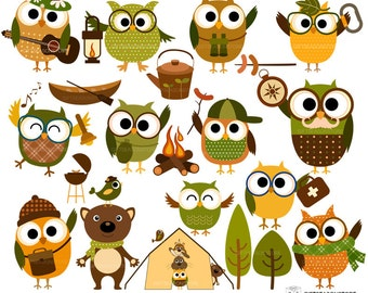 Camping owl clip art for Personal and Commercial use - INSTANT DOWNLOAD