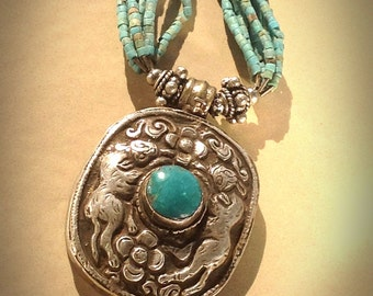 Necklace Jordanian Silver and Turquoise Arabic
