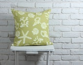 """Nautical Pillow Cover: Hand stamped hand dyed lime green sea shell pillow cover 20""""x20"""" made to order"""