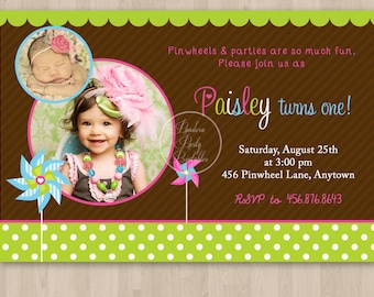 Pinwheel Birthday Invitation - DIY Custom Printable